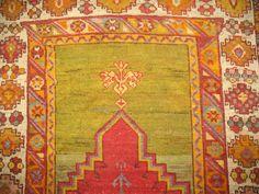 Antique Gorgeous Turkish Ghiordes Melas Oushak Ushak Prayer Rug Size 3 5  x4 10