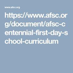 AFSC Centennial First Day School Curriculum