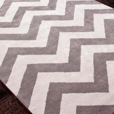 Grey and White cushy comfy Chevron Rug