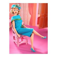 2007 / Sleepytime Gal Barbie Doll (featuring Repro Reproduction of Vintage Fashions 1966 Sleepytime Gal 1674 AND 1965 Fashion Editor Turquoise Dress, Retro Hairstyles, Vintage Barbie Dolls, Barbie Collector, Green Satin, Barbie Friends, Barbie World, Fashion Editor, Beautiful Dolls