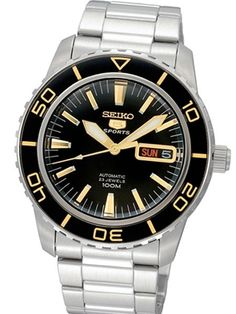 Seiko SNZH57 Sports 5 watch features Seiko's 23-jewel caliber 7S36 automatic movement with a day and date display, luminous lumibrite treated hands and markers, a uni-directional bezel and an exhibition case back.