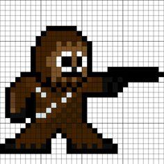 Chewbacca Perler Bead Pattern Melty Bead Patterns, Pearler Bead Patterns, Perler Patterns, Pearler Beads, Beading Patterns, Quilt Patterns, Minecraft Quilt, Minecraft Pixel Art, Twister Quilts
