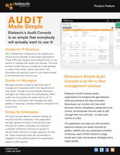 Audit Made Simple is a one-in-all management solution! Know what you have, who has it and what it costs you at any given time! www.etelesolv.com