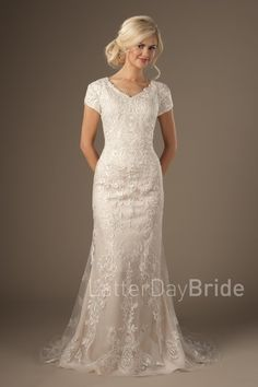 modest wedding dresses at LatterDayBride, the Enchancia mermaid gown with lace and scallops Sheath Wedding Gown, Modest Wedding Gowns, Dream Wedding Dresses, Bridal Gowns, Lace Weddings, Unique Dresses, Modest Dresses, Bridesmaid Dresses, Older Bride Dresses