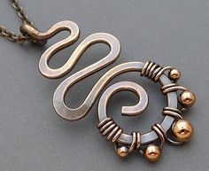 Copper, wire wrapped with beads
