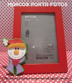 Marcos de fotos con goma eva para regalar http://manualidadescongomaeva.blogspot.com.es/2012/12/marcos-de-fotos-navidad.html
