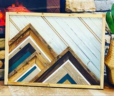 Wood Artwork, Wood Wall Art, Southwestern Wall Decor, Scrap Wood Art, Project Ideas, Art Projects, Diy Framed Art, Stick Wall Art, Geometric Mountain