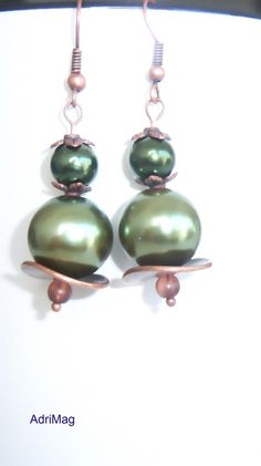 Boucles d'oreille cuivre vert nacré
