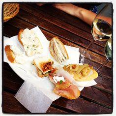 Osteria all'Arco in Venezia, Veneto - pair pesce-crudo-topped toasts with an ombra, a tiny goblet of wine - tiny, why tiny NYT?