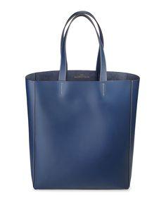 Made in italia - borsa shopping bag realizzata in 100% pelle  con due manici, logo applicato. - 100% made in italy - int - Shopping bag donna fosca Blu
