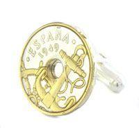 Anchor and Wheel Coin Nautical Cufflinks (Spain)