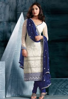 White and Blue Salwar Kameez  |  मिशेल