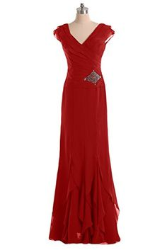 Sunvary V Neck Ruffled Chiffon Mother of the Bride Dress Long US Size 2- Red Sunvary http://www.amazon.com/dp/B00RV47MJK/ref=cm_sw_r_pi_dp_pAvZvb0FDMQTV