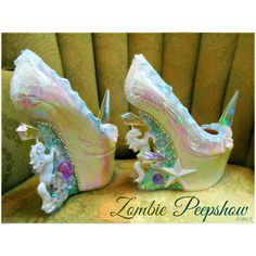 """Unicorn """"Pegasus"""" Crystal Spike Heelless Wedges ($295) ❤ liked on Polyvore featuring shoes, heelless shoes, wedge shoes, spiked wedge shoes, wedge sole shoes and wedge heel shoes"""