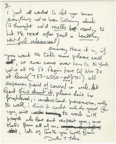 11月5日、ビートルズの元メンバー故ジョン・レノンがギタリストのエリック・クラプトンに宛てた手紙が、ロサンゼルスで来月開催されるオークションに出品されることになった。競売会社提供(2012年 ロイター)
