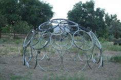 Bicycle tire (tyre) dome , with a some slight modification this would make a good chook dome or greenhouse