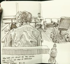 Sketch while waiting for a very late connecting flight at JFK. Happy to be home…