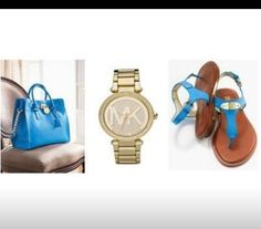 Michael Khors Love the bag and matching sandals. Michael Khors, K 1, Michael Kors Watch, Bracelet Watch, Purses, My Style, How To Wear, Bags, Beautiful Things