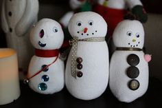 teen did this previously with Girl Scouts. Super cute. Could make much smaller snowmen with baby socks