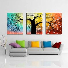Lucky Tree 3 Panels Modern Abstract Paintings Giclee Canv... https://www.amazon.com/dp/B01G3IBEX4/ref=cm_sw_r_pi_dp_UagOxb978WPJG #Abstractpainting #Canvasprint #wallart #homedecor #tree #GicleeArt #readytohang #fineart #artist #colorful