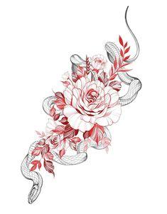 Red Ink Tattoos, Mini Tattoos, Flower Tattoos, Black Tattoos, Body Art Tattoos, Small Tattoos, Snake And Flowers Tattoo, Arabic Tattoos, Stomach Tattoos
