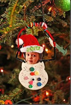 snowkid with kid head - card or ornament