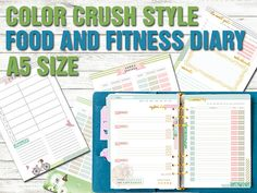 Food diary Fitness planner a5 size printable meal planner