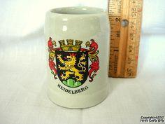 "Beer Stein HEIDELBERG Tiny Mug 2 1/2"" Ceramic Germany Crest Stoneware Collect` | eBay"