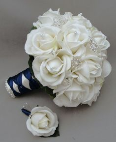 Silk flower bridal bouquet real touch roses rhinestone white navy blue