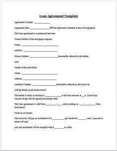 Printable Loan Agreement Form Personal Loan Agreement Template And Sample  Letters  Pinterest