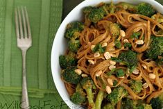 Peanut Sauce with Linguini and Broccoli