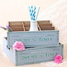 Caja de madera vintage dusk blue: Soda