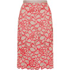 TOPSHOP Fluroescent Lace Pencil Skirt (165 CAD) ❤ liked on Polyvore featuring skirts, flur pink, knee length pencil skirt, pink skirt, slit skirt, floral print skirt and floral print pencil skirt