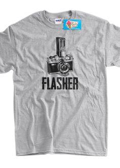 Gifts for Photographers Flasher Retro Camera Photography Tshirt T-Shirt Tee Shirt Mens Womens Ladies Youth Kids