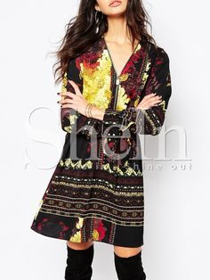 Multicolor Long Sleeve Vintage Print Dress 19.99