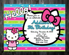 Hello Kitty Striped Birthday Invitation by NKDesignCollection, $5.25