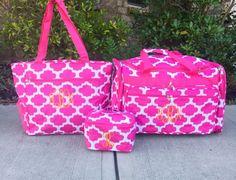 8c954b7c0b56 Quatrefoil Duffle Bag Traveling Set Pink Duffle Bag Pink Duffle Bag