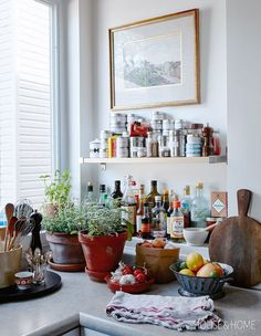 When you're whipping up an elaborate feast, you want to have all of your spices and sauces within reach. | Photographer: Stacey Brandford | Designer: Produced by Kristen Eppich, Prop styling by Morgan Michener and Lauren Petroff Kitchen Dinning, Kitchen Redo, Kitchen Remodel, Couch Magazin, Scandinavian Style, Bar Cart Decor, Up House, Interiores Design, Apartment Living