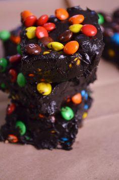 soft, dark chocolate and m&m fudge