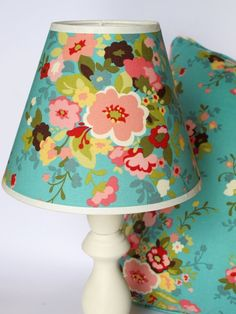 Lampshade Floral designer fabric lampshade by Pillowsnstuff