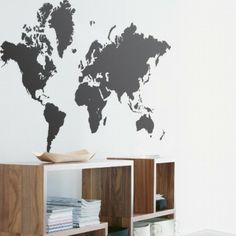 World Map WallSticker, on canvases (maybe different colors) hang staggered to create the whole world