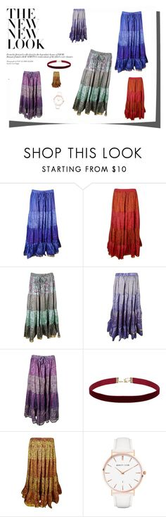 """Tiered Sari Skirts"" by tarini-tarini ❤ liked on Polyvore featuring Abbott Lyon and vintage"