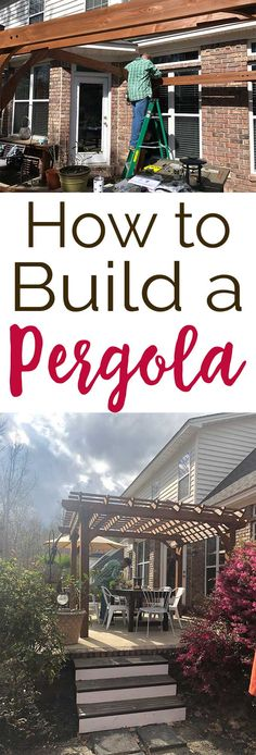 Step by step tutorial showing how to build a cedar pergola from a precut kit in just 5 hours. #DIY