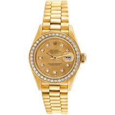 Rolex 1970S Women's 18K President Diamond Watch (€7.590) ❤ liked on Polyvore featuring jewelry, watches, jewelry & watches, nocolor, pre owned jewelry, druzy jewelry, 80s jewelry, bezel watches and pre owned watches