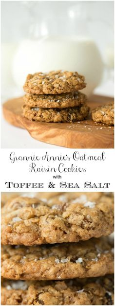Crazy delicious oatmeal raisin cookies with buttery toffee and coconut. They're topped with a sprinkle of flaky sea salt which takes them over the top!   via @cafesucrefarine