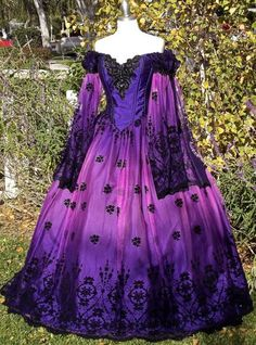 Ombre Gothic Fairy Fantasy Wedding Gown Purple/Pink In Stock Size Medium One of a Kind