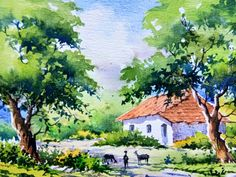 New landscape drawing simple water colors Ideas Watercolor Scenery, Watercolor Paintings Nature, Watercolor Paintings For Beginners, Scenery Paintings, Watercolor Water, Simple Acrylic Paintings, Indian Art Paintings, Landscape Drawings, Landscape Art