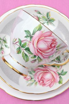 Pink Rose Vintage Teacup Trio by cake-stand-heaven, via Flickr
