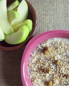 warm oatmeal with chuffed quinoa, chia seeds and dried mulberries & apple slices
