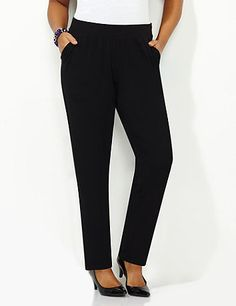 Anywear Slim Leg Pant | Catherines Discover perfectly versatile pieces from our AnyWear Collection that mix, match and pack beautifully, wherever life takes you. Our tapered pants offer a tailored look that keeps you comfortable all day long. A thick elastic band circles the top to give you the custom fit you love. Completed by side pockets. Catherines pants are specifically designed with the plus size woman in mind. #catherines #plussizefashion #anywear